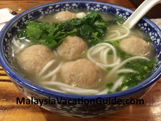 Bursting meatball noodles.