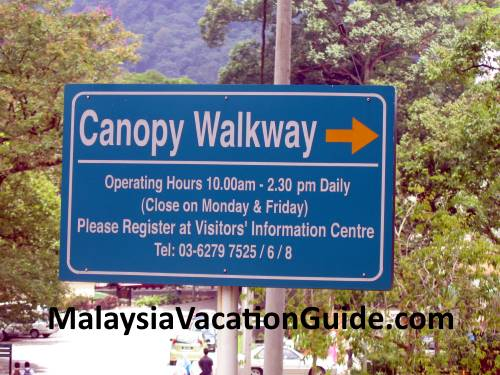 FRIM Canopy Walk Signage and operating hours