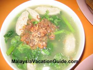 Ampang fish paste in vegetable soup