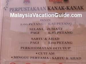 Kuala Lumpur Library Operation Hours