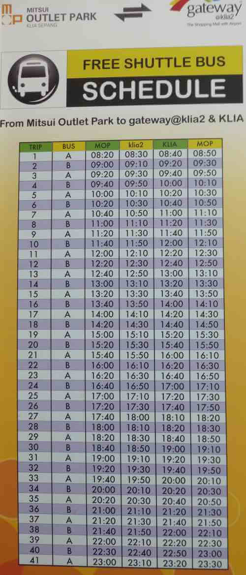 Mitsui Outlet Park Free Shuttle Schedule.