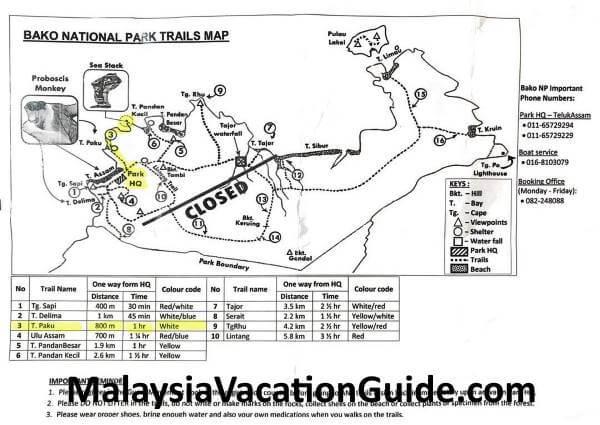 Map of Taman Negara Bako