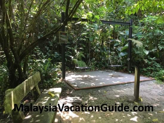 Benches and swings at Taman Tugu