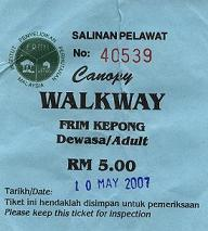 FRIM Canopy Walk Fee