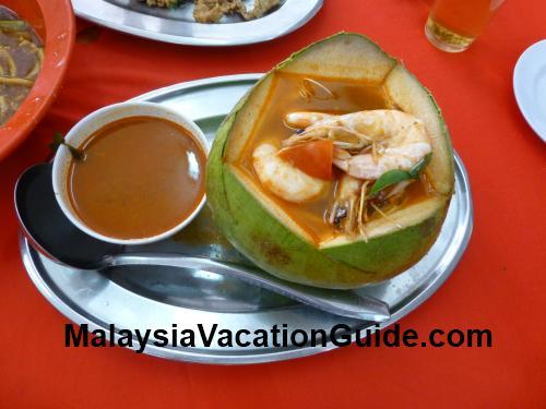 Spicy Prawns Coconut Aik Khoon Restaurant