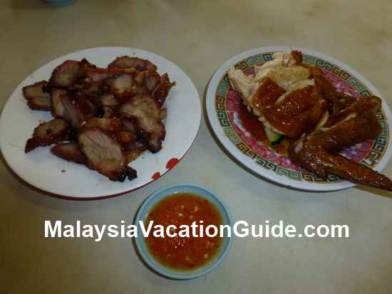 Barbecue pork and roast chicken