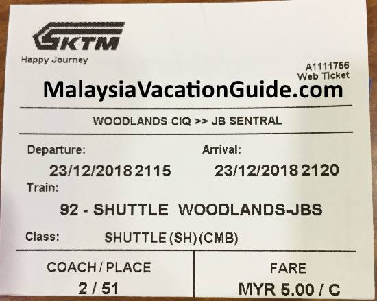 Woodlands-JB Sentral Shuttle Train KTM Ticket
